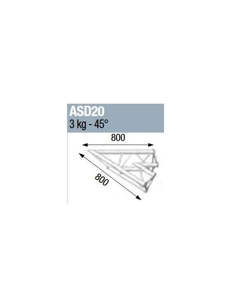ASD - ANGLE ALU 250 TRIANGULAIRE 2 DEPARTS 45° - ASD20