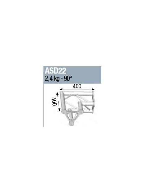 ASD - ANGLE ALU 250 TRIANGULAIRE 2 DEPARTS 90° - ASD22