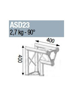 ASD - ANGLE ALU 250 TRIANGULAIRE 2 DEPARTS 90° VERTICAL - ASD23