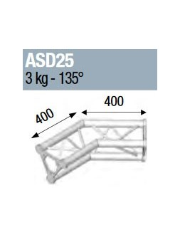 ASD - ANGLE ALU 250 TRIANGULAIRE 2 DEPARTS 135° - ASD25