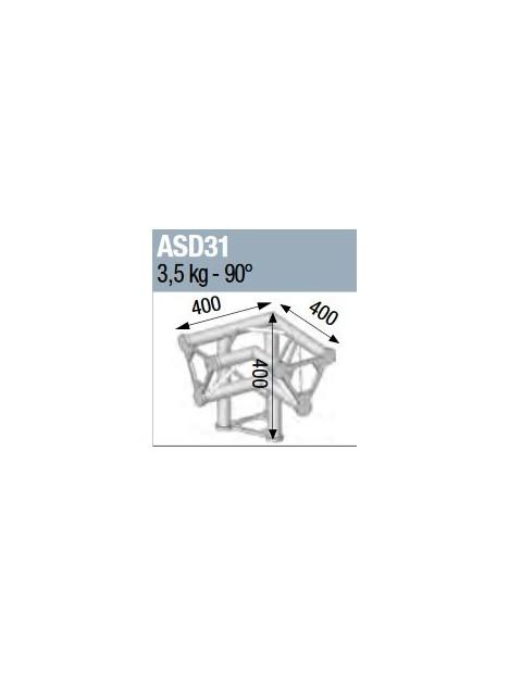 ASD - ANGLE ALU 250 TRIANGULAIRE 3 DEPARTS 90° PIED GAUCHE - ASD31