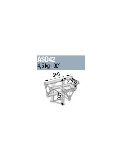 ASD - ANGLE ALU 250 TRIANGULAIRE 4 DEPARTS 90° PIED - ASD42