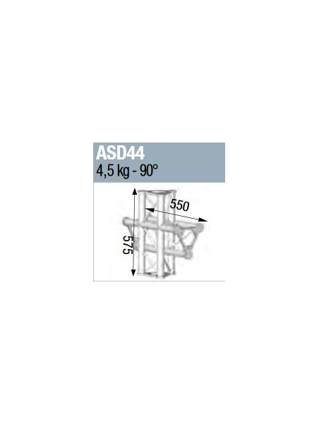 ASD - ANGLE ALU 250 TRIANGULAIRE 4 DEPARTS 90° VERTICAL/MEDIAN G - ASD44