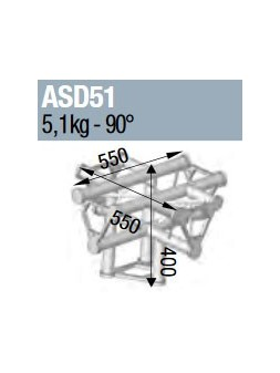 ASD - ANGLE ALU 250 TRIANGULAIRE 5 DEPARTS HORIZONTAL/PIED - ASD51