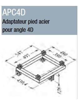 ASD - Adaptateur pied acier pour angle 4D ST 500 - APC4D