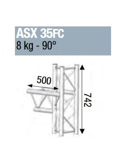 ASD - ANGLE ALU 290 3 DEPARTS 90° MEDIAN FORTE CHARGE - ASX35FC