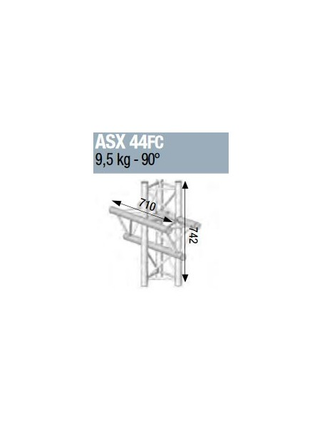 ASD - ANGLE ALU 290 4 DEPARTS 90° VERTICAL/MEDIAN G FORTE CHARGE - ASX44FC