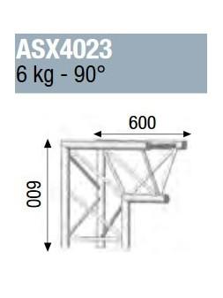 ASD - ANGLE ALU 390 2 DEPARTS PIED 90° - ASX4023
