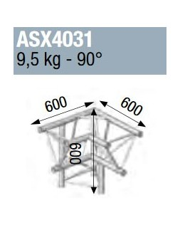 ASD - ANGLE ALU 390 3 DEPARTS PIED GAUCH 90° - ASX4031