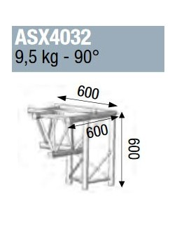 ASD - ANGLE ALU 390 3 DEPARTS PIED DROIT 90° - ASX4032