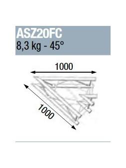 ASD - ANGLE ALU 290 CARREE 2 DEPARTS 45° FORTE CHARGE - ASZ20FC