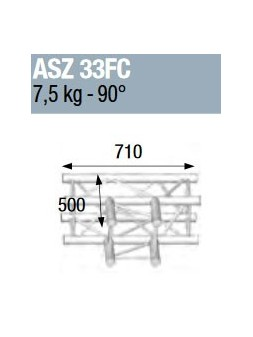 ASD - ANGLE ALU 290 CARREE 3 DEPARTS 90° HORIZONTAL FORTE CHARGE - ASZ33FC