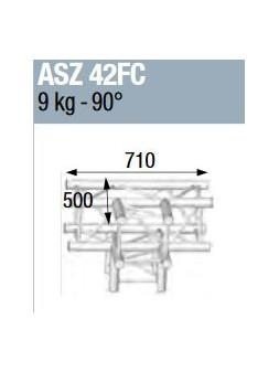 ASD - ANGLE ALU 290 CARREE 4 DEPARTS HORIZONTAL/PIED FORTE CHARGE - ASZ42FC