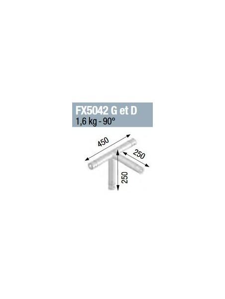 ASD - Angle 4 départs 90° pied lg 0m45 x 0m25 x 0m25 - FX5042G/D