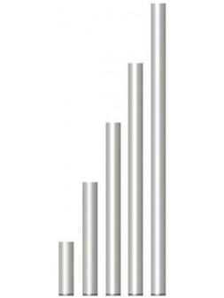 ASD - PIED FIXE en TUBE ALU 50x3x975mm., 1m. ht plancher avec embout PVC - PS100