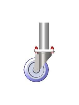 ASD - PIED à ROULETTE tube alu 50x3mm + platine & roulette 125mm. ht plancher 0,50m. - PR050