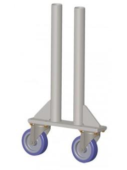 ASD - PIED 2 ROULETTES tube alu 50x3mm + platine & roulettes 125mm. ht plancher 1m. - PR100D
