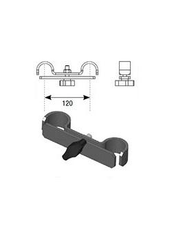 ASD - RACCORD pour 2 TUBES GARDE CORPS en ACIER finition EPOXY NOIR - FGARD