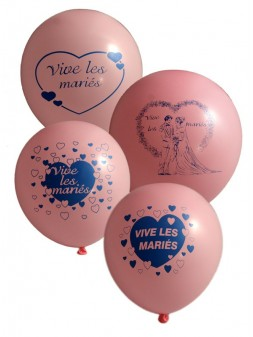 10 ballons Vive les Mariés 1 face 12p rose